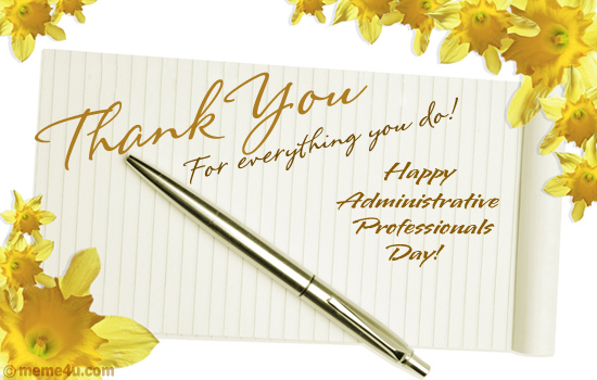 administrative professionals day postcard, a card to say thank you, admin pro day ecard