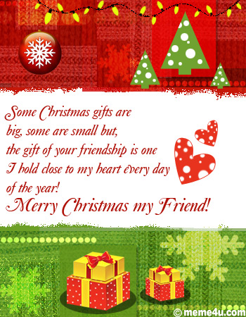 gift of your friendship, christmas greeting for friend, christmas ecard for friend