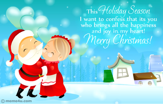 mr and mrs santa claus, cute merry christmas card, cute merry christmas ecard
