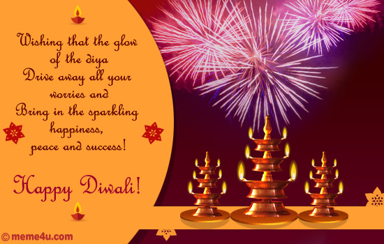 diwali card with diyas, diwali ecard with diyas, diwali greeting card with diyas