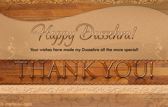 thank you card on dussehra, thank you ecard on dussehra, thank you greeting card on dussehra