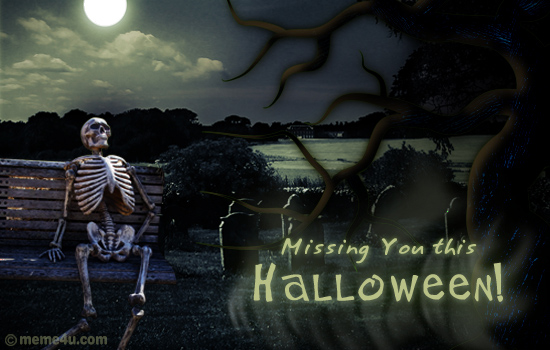 missing you halloween card, missing you card, skeleton cards