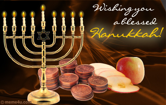 blessed hanukkah wish, blessed chanukkah wish, hanukkah card