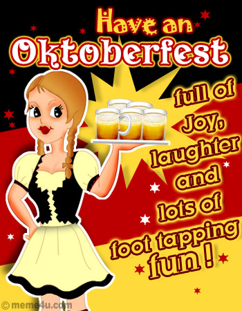 Celebrate this Oktoberfest with full of Joy, Laughter and lots of foot tapping fun! A beautiful card made in the color of Oktoberfest 2008 with a sweet girl holding the chilled beer mugs!,