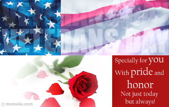 floral veterans day card, floral veterans day ecard, floral veterans day greeting card